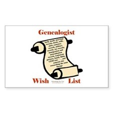 Genealogy Wish List Rectangle Decal
