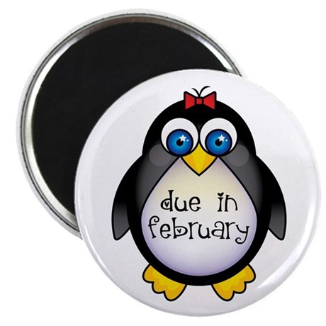 "February Penguin Maternity 2.25"" Magnet (10 pack)"