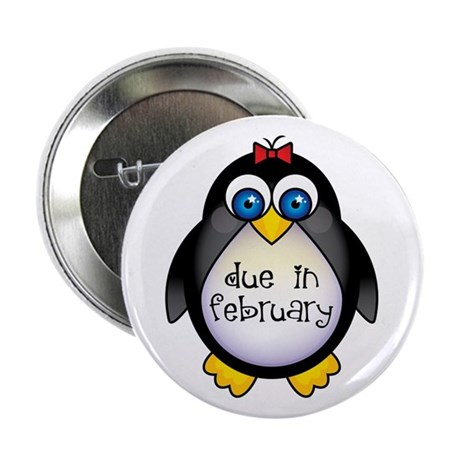"February Penguin Maternity 2.25"" Button"