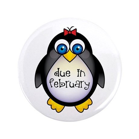 "February Penguin Maternity 3.5"" Button"