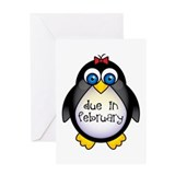 February Penguin Maternity Greeting Card