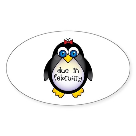 February Penguin Maternity Oval Sticker