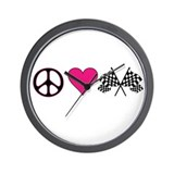 PeaceLoveRace Wall Clock