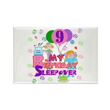 9th Birthday Sleepover Rectangle Magnet