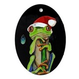 Frog In Santa Hat Oval Ornament