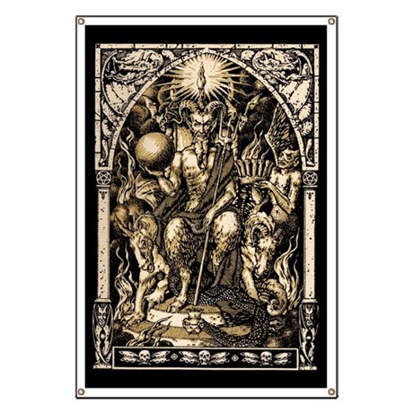 Huge 28x42 Satan Enthroned Banner
