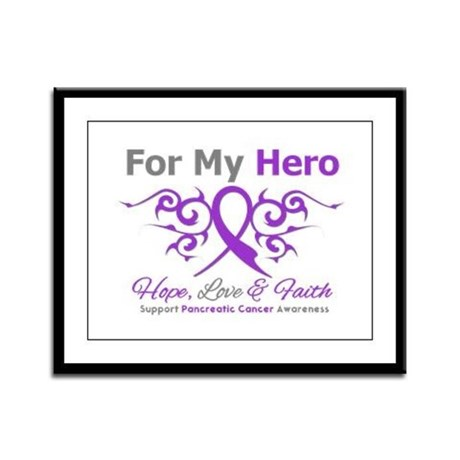 Pancreatic Cancer ForMyHero Framed Panel Print