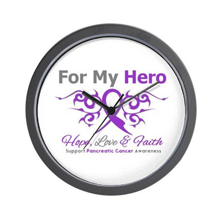 Pancreatic Cancer ForMyHero Wall Clock