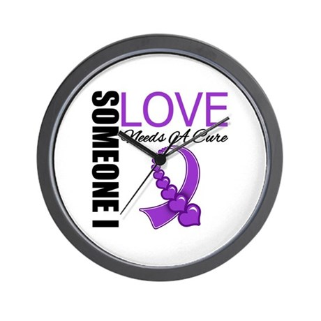 PurpleRibbon NeedsACure Wall Clock