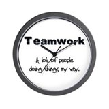 Teamwork - Black Wall Clock