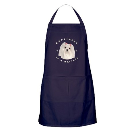 Happiness is a Maltese! Apron (dark)