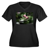 Spring Blossoms Women's Plus Size V-Neck Dark T-S