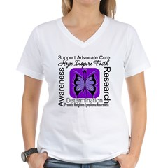 ButterflyHodgkinsLymphoma Women's V-Neck T-Shirt