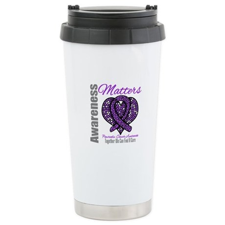 PancreaticCancer MosaicRibbon Ceramic Travel Mug
