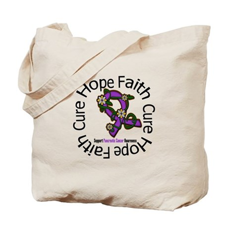 PancreaticCancer FlowerRibbon Tote Bag