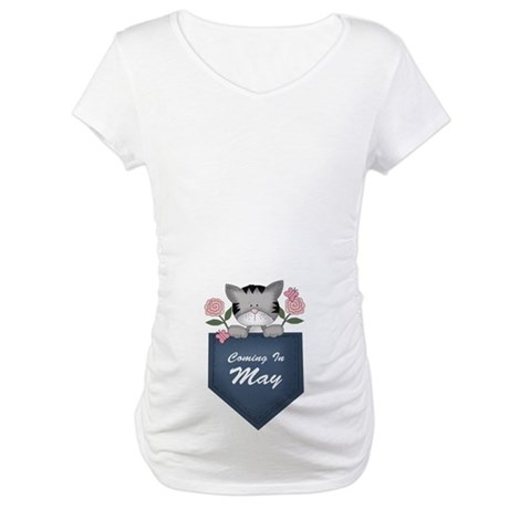 Kitty Cat May Baby Announcement Maternity T-Shirt