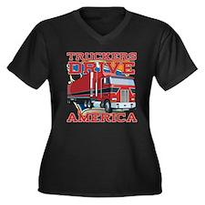 Truckers Drive America Women's Plus Size V-Neck Da