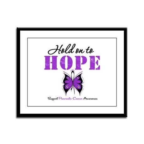 Pancreatic HoldOnToHope Framed Panel Print