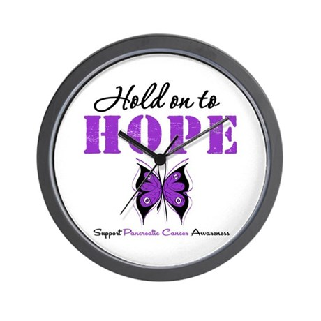 Pancreatic HoldOnToHope Wall Clock