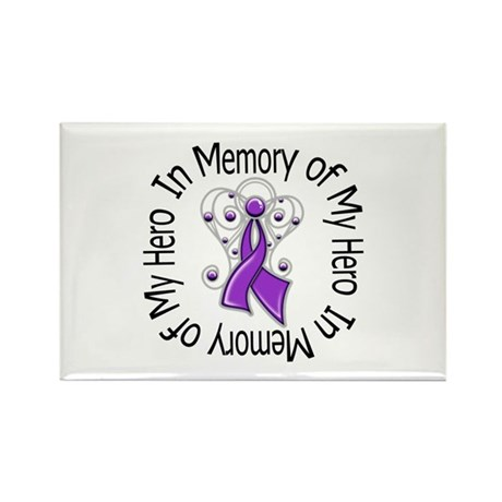 Purple Ribbon DecoAngel Rectangle Magnet