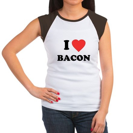 I Love Bacon Womens Cap Sleeve T-Shirt
