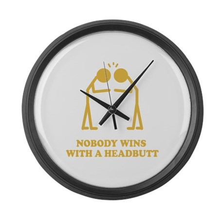 Nobody Wins With A Headbutt Large Wall Clock