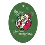 Santa Saw You Masturbate Oval Ornament