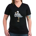 February Stork Women's V-Neck Dark T-Shirt