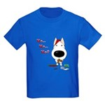 Bull Terrier Santa Kids Dark T-Shirt
