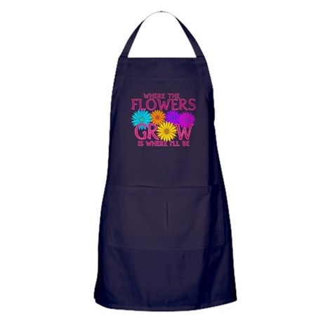 Where Flowers Grow Apron (dark)