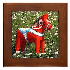 Horse in Flowers Framed Tile
