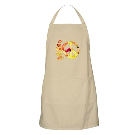 Flowery Orange Peace Apron