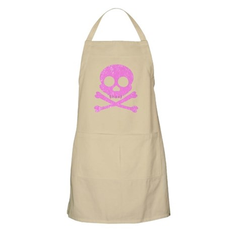 Distressed Pink Skull Apron