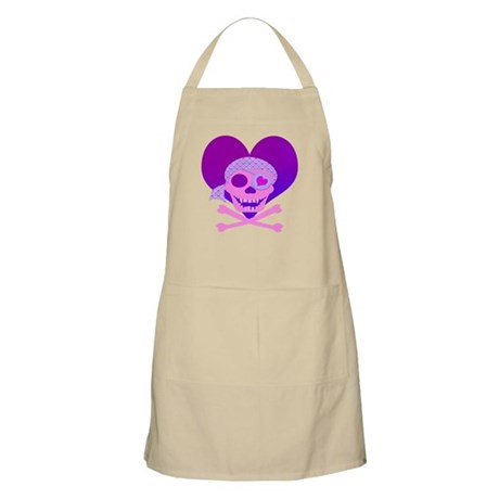 Pink Pirate Skull & Heart Apron