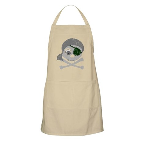 Distressed Gray Pirate Skull Apron
