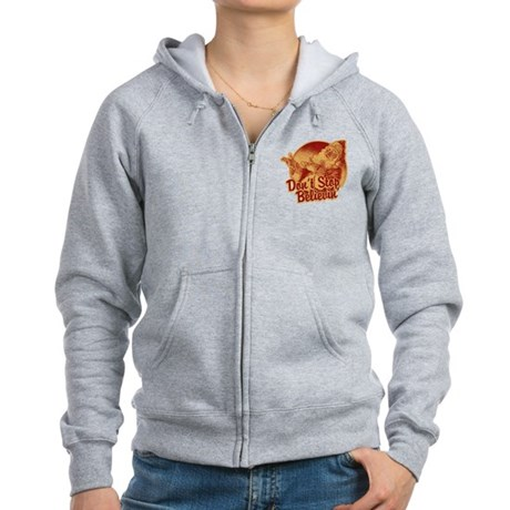 Don't Stop Believing in Santa Womens Zip Hoodie