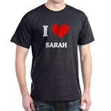 I Love Sarah Black T-Shirt