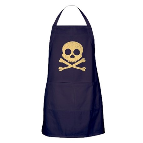 Distressed Orange Skull Apron (dark)