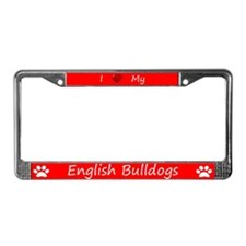 Red I Love My English Bulldogs Frame
