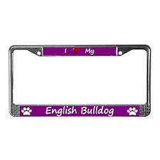 Purple I Love My English Bulldog Frame