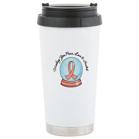 Snowglobe Uterine Cancer Ceramic Travel Mug