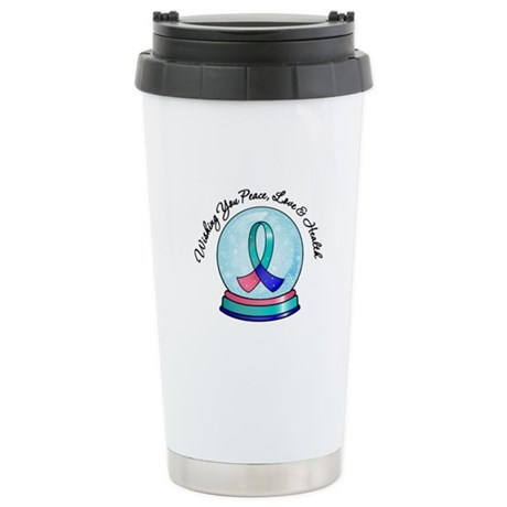 Snowglobe Thyroid Cancer Ceramic Travel Mug