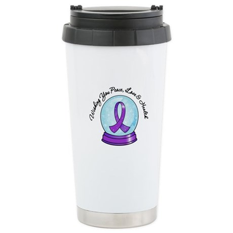 Snowglobe PancreaticCancer Ceramic Travel Mug