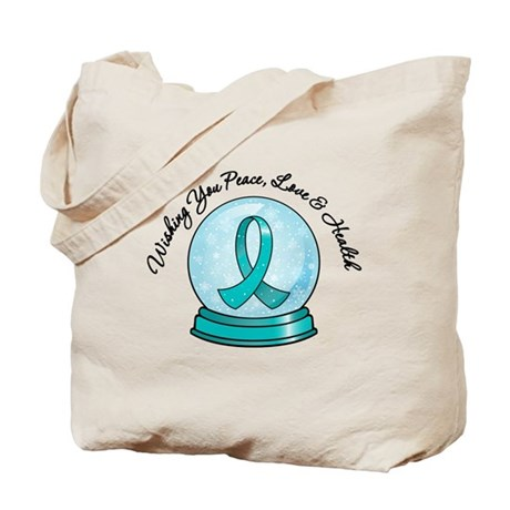 Snowglobe Ovarian Cancer Tote Bag