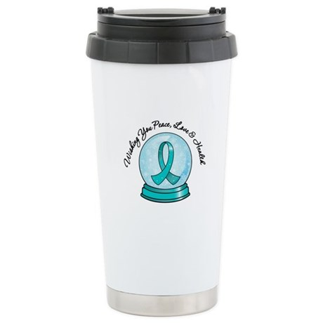 Snowglobe Ovarian Cancer Ceramic Travel Mug