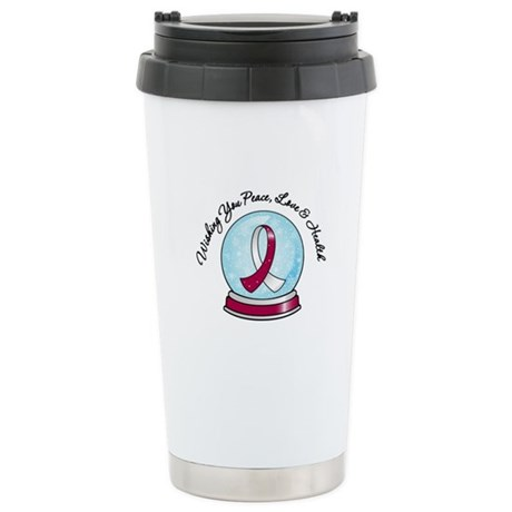 Snowglobe HeadNeckCancer Ceramic Travel Mug