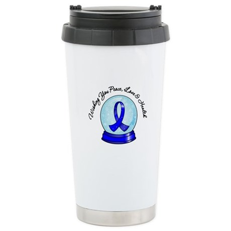 Colon Cancer Snowglobe Ceramic Travel Mug