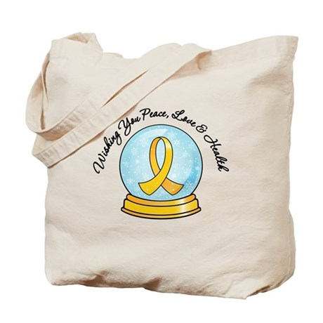 Childhood Cancer Snowglobe Tote Bag