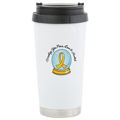 Childhood Cancer Snowglobe Ceramic Travel Mug