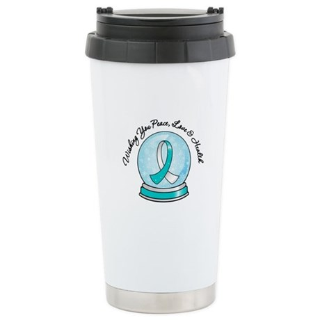 Cervical Cancer Snowglobe Ceramic Travel Mug